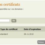 Liste des certificats SSL